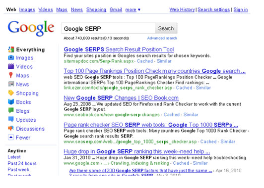 This image shows the static Search engine rankings in 2010